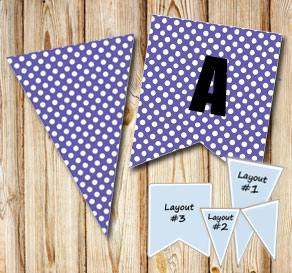 Purple pennants with white dots  | Free printable pennant/banner