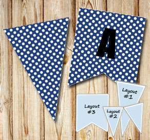 Dark blue pennants with white dots  | Free printable pennant/banner