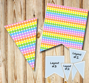 Dotted pennants in light rainbow colors  | Free printable pennant/banner