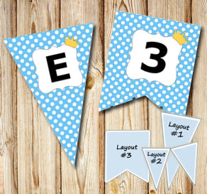 Blue pennants with white dots and princess crowns A...  | Free printable pennant/banner