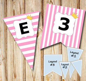 Pink pennants with white stripes and princess crown...  | Free printable pennant/banner