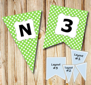 Green pennants with white dots and A - Z  | Free printable pennant/banner