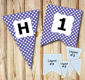 Purple pennants with white dots and A - Z  | Free printable pennant/banner