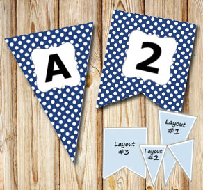 Dark blue pennants with white dots and A - Z  | Free printable pennant/banner