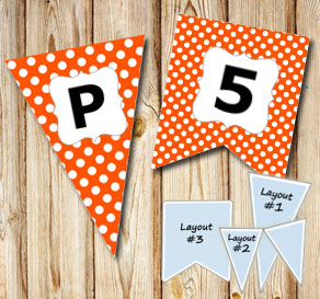 Orange pennant with white dots and A - Z  | Free printable pennant/banner