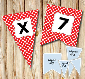 Red pennants with white dots and A - Z  | Free printable pennant/banner