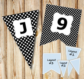 Black pennants with white dots and A - Z  | Free printable pennant/banner