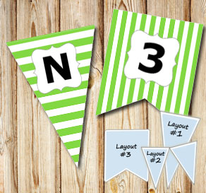 Green pennants with white stripes and A - Z  | Free printable pennant/banner