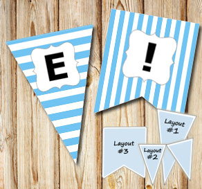 Light blue pennants with white stripes and A - Z  | Free printable pennant/banner