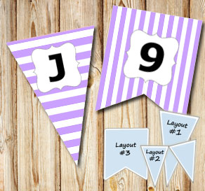 Light purple pennants with white stripes and A - Z  | Free printable pennant/banner