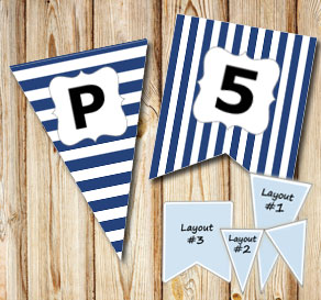 Dark blue pennants with white stripes and A - Z  | Free printable pennant/banner