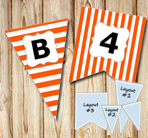 Orange pennants with white stripes and A - Z  | Free printable pennant/banner