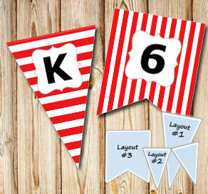 Red pennants with white stripes and A - Z  | Free printable pennant/banner