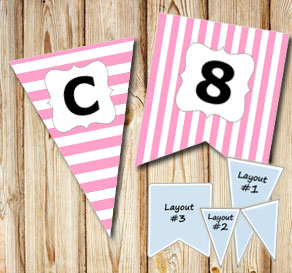 Pink pennants with white stripes and A - Z  | Free printable pennant/banner