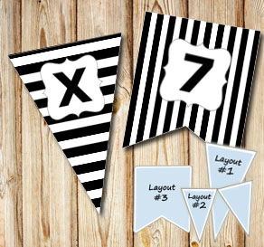 Black pennants with white stripes and A - Z  | Free printable pennant/banner
