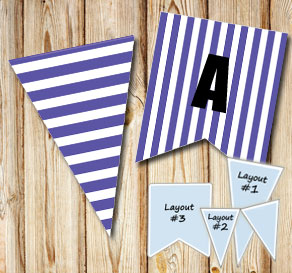 Purple pennants with white stripes  | Free printable pennant/banner
