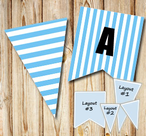 Light blue pennants with white stripes  | Free printable pennant/banner