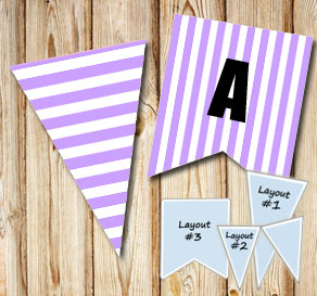 Light purple pennants with white stripes  | Free printable pennant/banner