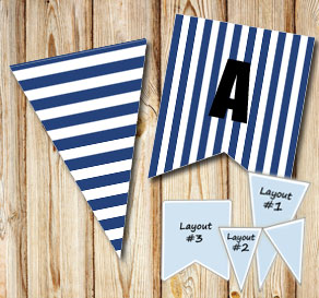Dark blue pennants with white stripes  | Free printable pennant/banner