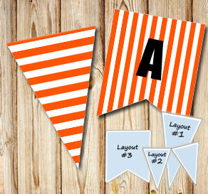 Orange pennants with white stripes  | Free printable pennant/banner