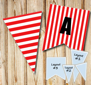 Red pennants with white stripes  | Free printable pennant/banner