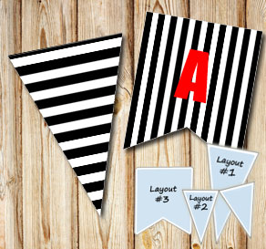 Black pennants with white stripes  | Free printable pennant/banner