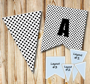 White pennants with black dots  | Free printable pennant/banner