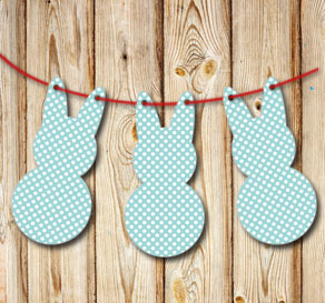 Turquoise pennants in the shape of easter bunnys wi...  | Free printable for Easter