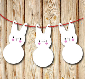Pennants in the shape of cute easter bunnys  | Free printable for Easter