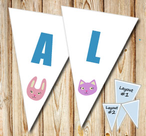 Pennants with cat and bunny  | Free printable pennant/banner