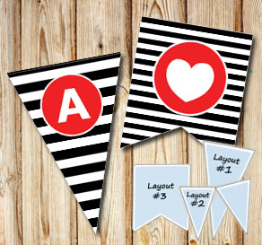 Black and white striped pennants with red A - Z  | Free printable for Valentines day