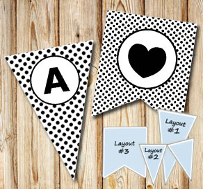 White pennants with black dots and circle A-Z  | Free printable pennant/banner