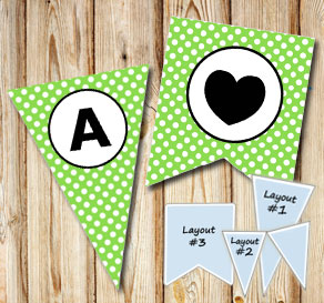 Green pennants with white dots and circle A-Z  | Free printable pennant/banner