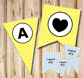 Yellow pennants with white dots and circle A-Z  | Free printable pennant/banner