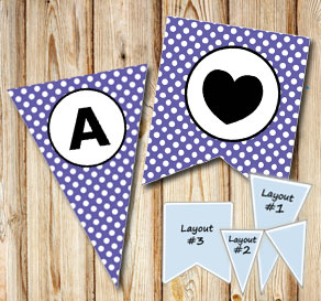 Purple pennants with white dots and circle A-Z  | Free printable pennant/banner