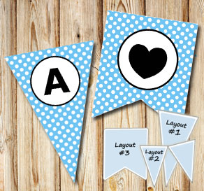 Light blue pennants with white dots and circle A-Z  | Free printable pennant/banner