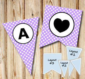 Light purple pennants with white dots and circle A-Z  | Free printable pennant/banner