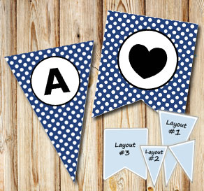 Dark blue pennants with white dots and circle A-Z  | Free printable pennant/banner