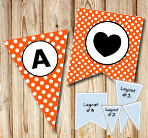 Orange pennants with white dots and circle A-Z  | Free printable pennant/banner