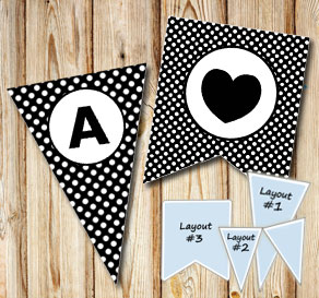 Black pennants with white dots and circle A-Z  | Free printable pennant/banner