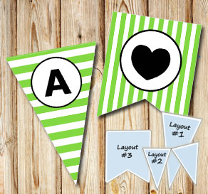 Green and white striped pennants with a circle A-Z  | Free printable pennant/banner