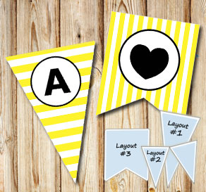Yellow and white striped pennants with a circle A-Z  | Free printable pennant/banner