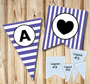 Purple and white striped pennants with a circle A-Z  | Free printable pennant/banner