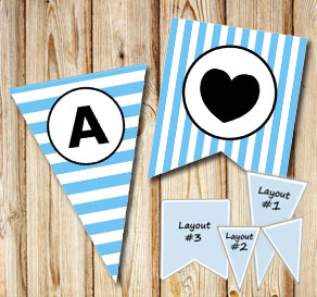 Light blue and white striped pennants with a circle...  | Free printable pennant/banner