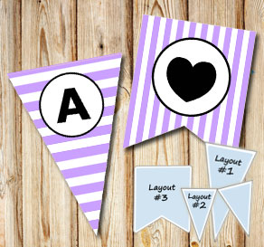 Light purple and white striped pennants with a circ...  | Free printable pennant/banner
