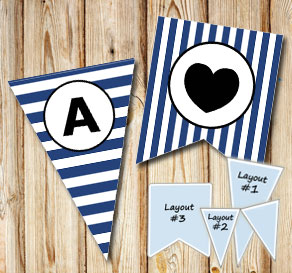 Dark blue and white striped pennants with a circle A-Z  | Free printable pennant/banner