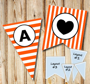 Orange and white striped pennants with a circle A-Z  | Free printable pennant/banner