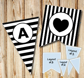 Black and white striped pennants with a circle A-Z  | Free printable pennant/banner