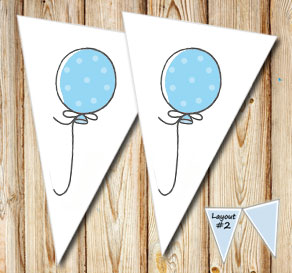 Pennants with blue balloons  | Free printable pennant/banner