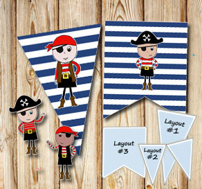 Dark blue and white striped pennants with pirates  | Free printable pennant/banner